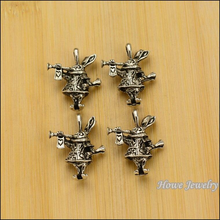 24 pcs Vintage Charms Rabbit Pendant Antique silver Fit Bracelets Necklace DIY Metal Jewelry Making