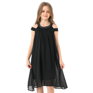 Image 5 - Toddler Girl Dresses Summer Black Chiffon Slip Dress Children Beach Wear Casual Girls Party Dress Kids Clothes 8 10 12 14 Years