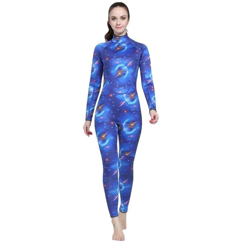 все цены на 2018 Women Print Wetsuit One piece 3mm Neoprene Swimsuit Dive Surf Swim Suit Swimwear Spearfishing Long sleeve Beach Triathlon