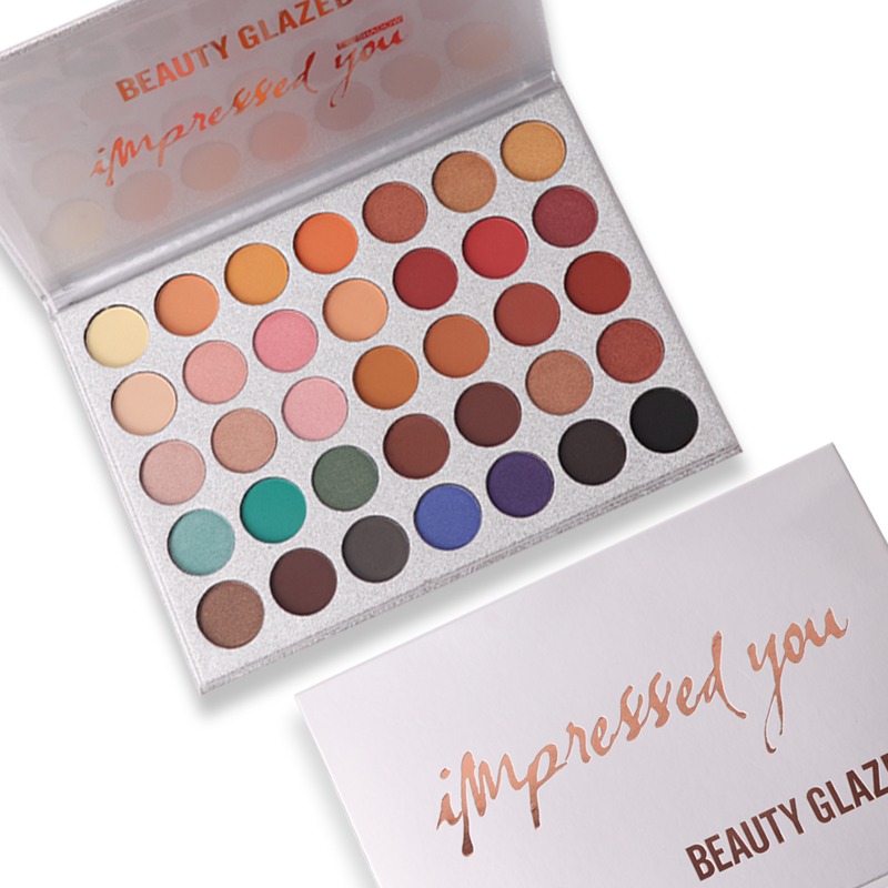 BEAUTY GLAZED 35 Colors In 1 Eyeshadow Palette  Matte Shimmer Eyeshadow + Red Color Makeup Brushes brush tools with bag Hot 1