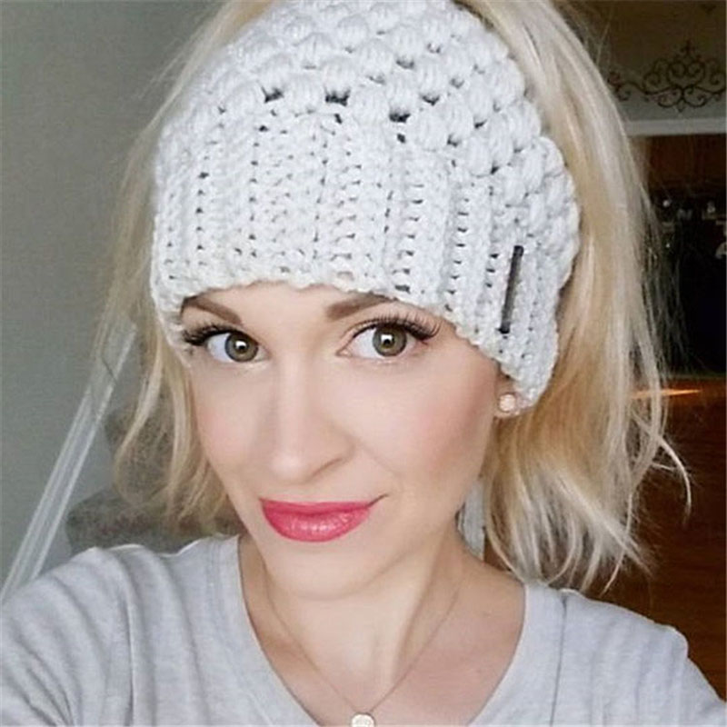Women Winter Bun Messy Ponytail   Beanie   Warm Hat Crochet Knitted Lady   Skullies     Beanies   Autumn Caps Female Stretch Cap CP0183