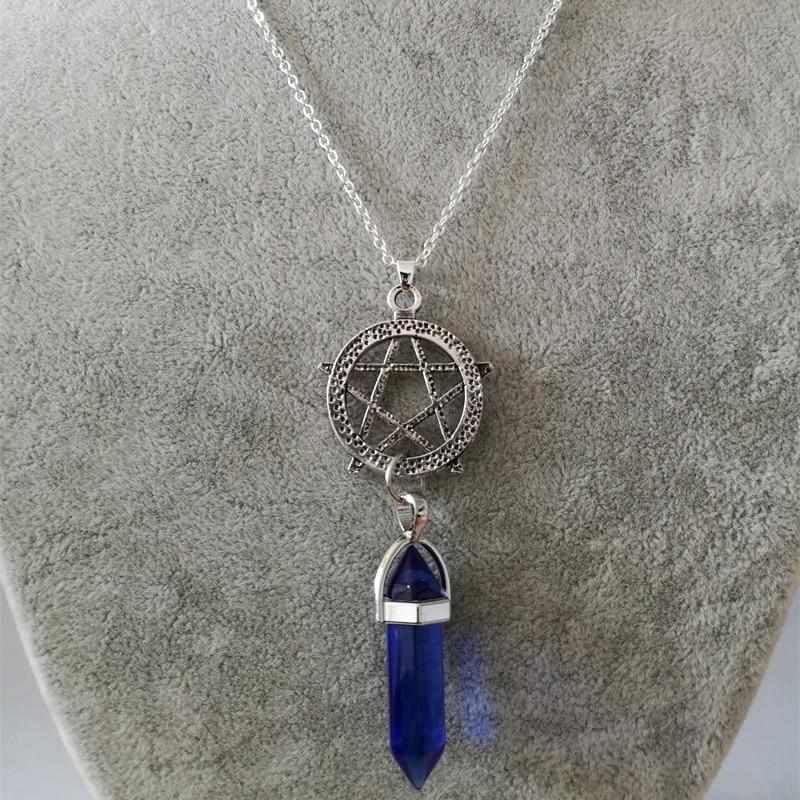 Vintage srebrni heksagram kristalni privjesak ogrlica šarm kameni - Modni nakit - Foto 3