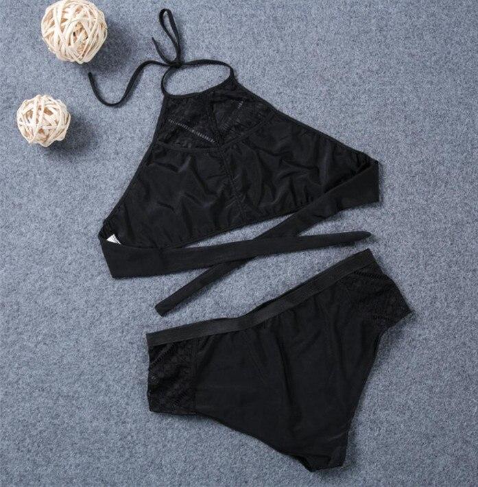 Plus Ölçü Seksual Qara Bikini Qadın çuxurlu yüksək belli - İdman geyimləri və aksesuarları - Fotoqrafiya 2