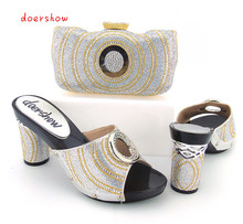 doershow Italian Shoes with Matching bags For Party, High Quality african Shoes And Bags Set for Wedding shoe and bag bb1-31
