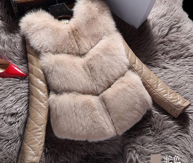 blanc Patchwork Chaude Pleine Direct Aucun Veste Femme Chaud Noir Selling Mince Manteau Renard marron Bomber O Manteaux bleu Mosaïque gris D'hiver cou 2018 Imitation gwq8P
