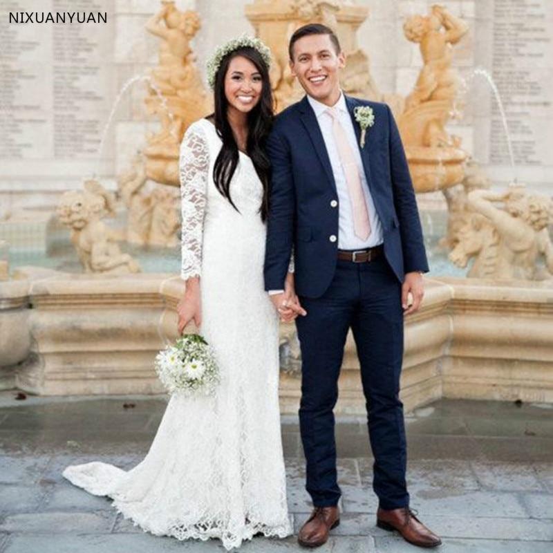 Bohemian Wedding Dress 2020 V-Neck Lace Beach Wedding Dresses Plus Size Long Sleeve Boho Bridal Gown Vestido De Noiva De Renda