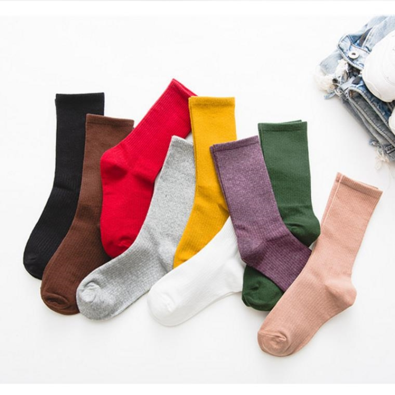 Women Socks Autumn 1 Pair Long Socks School Style Cotton Solid Color Candy Women Fashion Cotton Socks For Women Korean Style