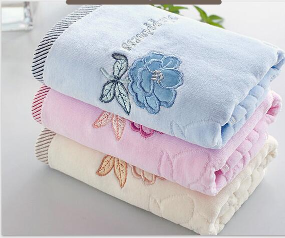 Rose Embroidered Towels: Embroidery Rose Flower Print Face Towel Solid Cotton Body