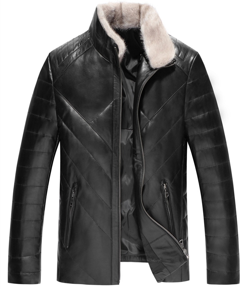 Men's Leather Jacket Winter Jacket Men Genuine Sheepskin Coat For Men Mink Fur Collar Down Jackets Plus Size LSY088381 MY1650