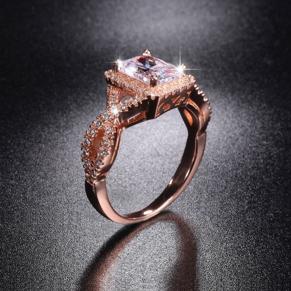Promotion!!! 8$ Real Solid 100% 925 Silver & Rose Gold Wedding Rings Jewelry For Women 5ct Simulated Diamond Engagement Ring