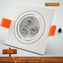 6PCS/Lot 3W 6W 9W LED ceiling light dimmable free shipping led spot bulb home decor LED spot light Square white lamp Aluminum