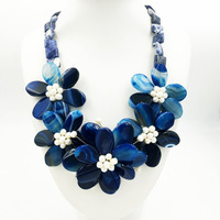 Lii Ji Natural Stone Dye Blue Onyx Blue Sodalite Freshwater Pearl Handmade Flower Statement Necklace Jewelry