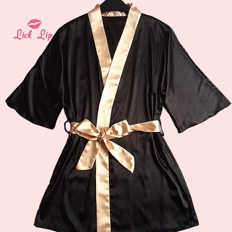 Lick Lip Sexy Black Bathrobe Women Short Satin Pajama Robe Femme Gold Belt Bow Nightgown Kimono Sleepwear Robe Female SWC3340 47