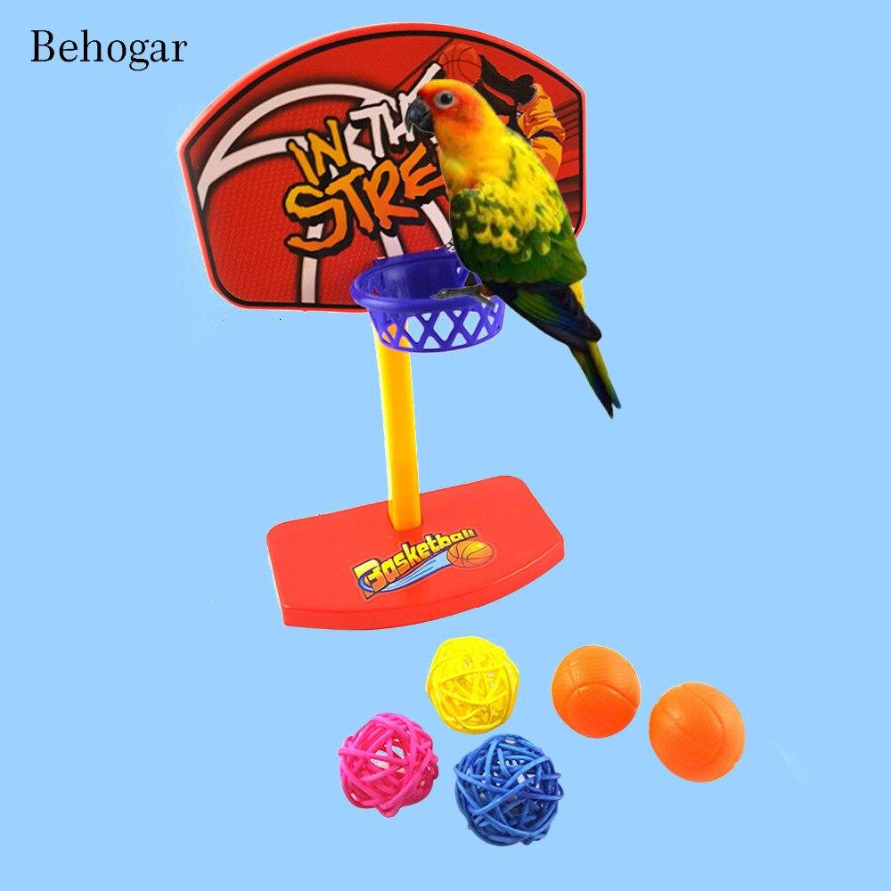 Behogar Bird Parrot Intelligence Development Toy Mini Basketball Hoop with 5pcs Balls Toys Home Decor Parakeet Pet Kid Toys