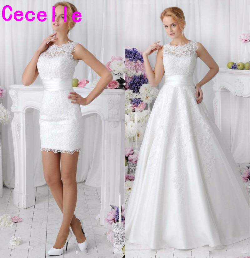 717f362e9 2019 New 2 in 1 Lace Wedding Dresses With Detachable Skirt Boat Neck Two  Pieces A Line Bridal Gowns vestido de noiva Custom Made ~ Free Delivery  July 2019