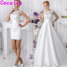 cecelle 2019 2 in 1 Lace Wedding Dresses With Detachable