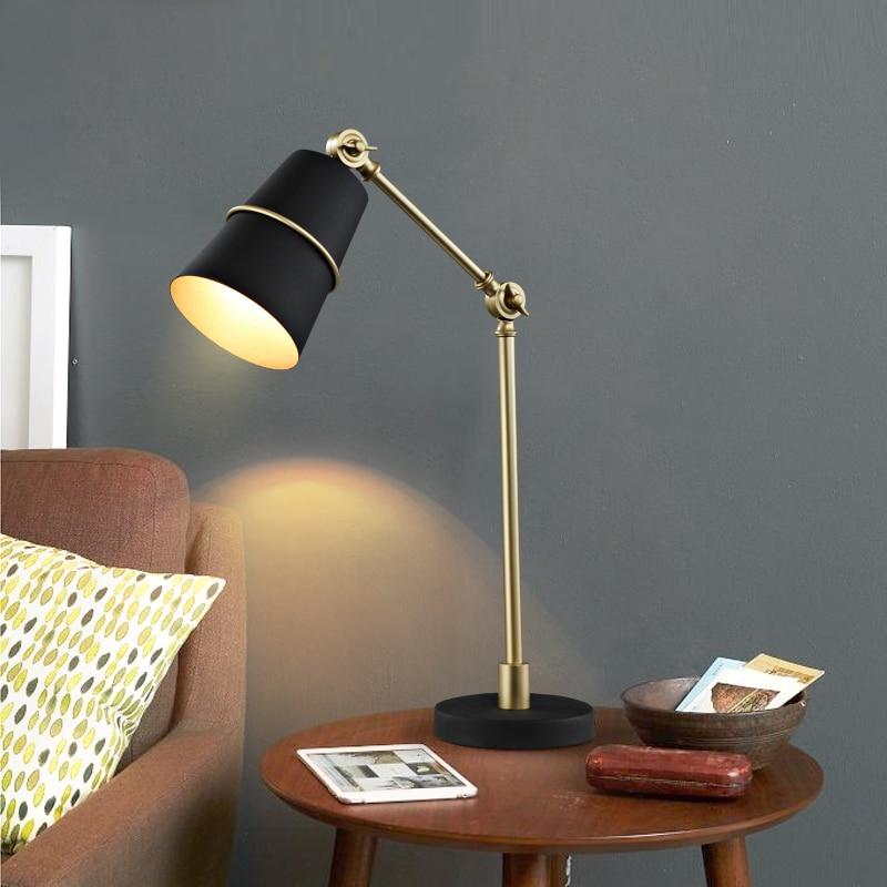 flexible bedside lamp  Long arms flexible desk table lamp led reading light adjustable gold ...