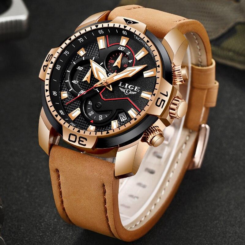 2019 nouveau LIGE hommes montres Top marque de luxe hommes décontracté en cuir Quartz horloge mâle Sport étanche montre Relogio Masculino