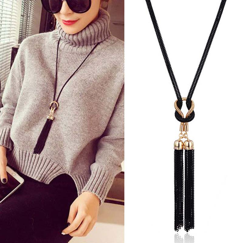 2018 Designer Boutique Vintage Elegant Big Gold Metal Long Tassel Rhinestone Statement Necklace for Women Crystal Pendant vintage rhinestone circle necklace for women