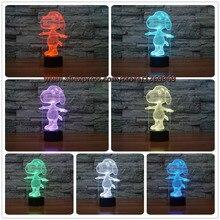 De Dibujos Animados en 3D Táctil USB LED del Cambio del Color Kid Sleep Home Animales Perspectiva Ilusión Nightlight Lámpara de Regalo de Cumpleaños