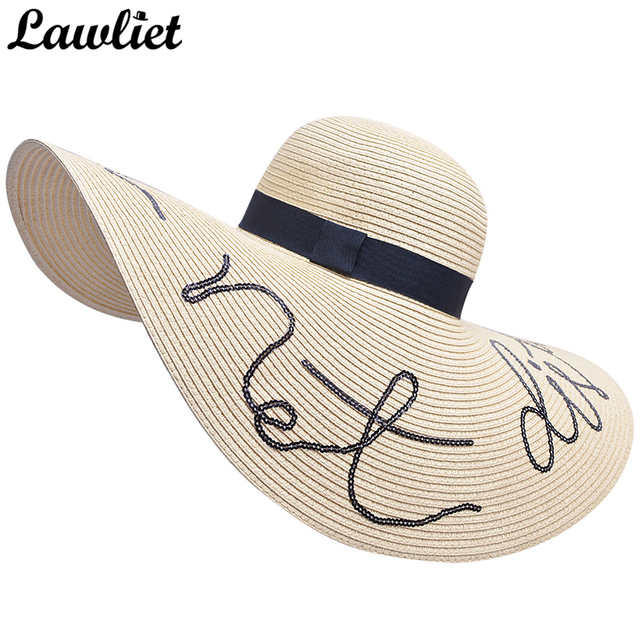 fbf769c85b4 2017 Floppy Sun Hat 18cm Large Wide Brim Beach Hat For Women Do Not Disturb Letter  Straw Hat Kentucky Derby Vacation Summer Cap