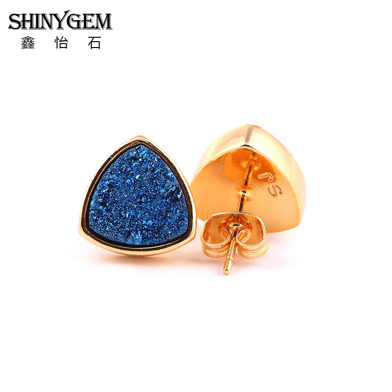 New Titanium Druzy Stud Earrings Multi color 10mm Pure Gold Color Triangle Natural Stone Druzy Earring