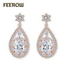 FEEHOW Newest Big Luxury Water Drop Wedding Jewelry for Women Vintage Sliver Color Cubic Zircon Drop Flower Earrings FWEP623
