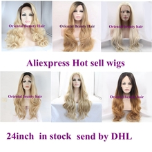 """24""""Stock wigs blond hair heat resistant hair wig glueless lace wig for black women send By DHL Aliexpress wig's store Hot sell"""