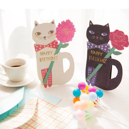 10 Set Cartoon Cat 3D Bouquet Flower Happy Birthday Greeting Cards Envelope Invitation Party Gift Card Table Decoration In Invitations From