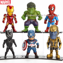 Hasbro Marvel 6pcs/set Superhero Iron Man Spider-Man Panthera Fighter Doll Model Car Decoration Toy garage kit