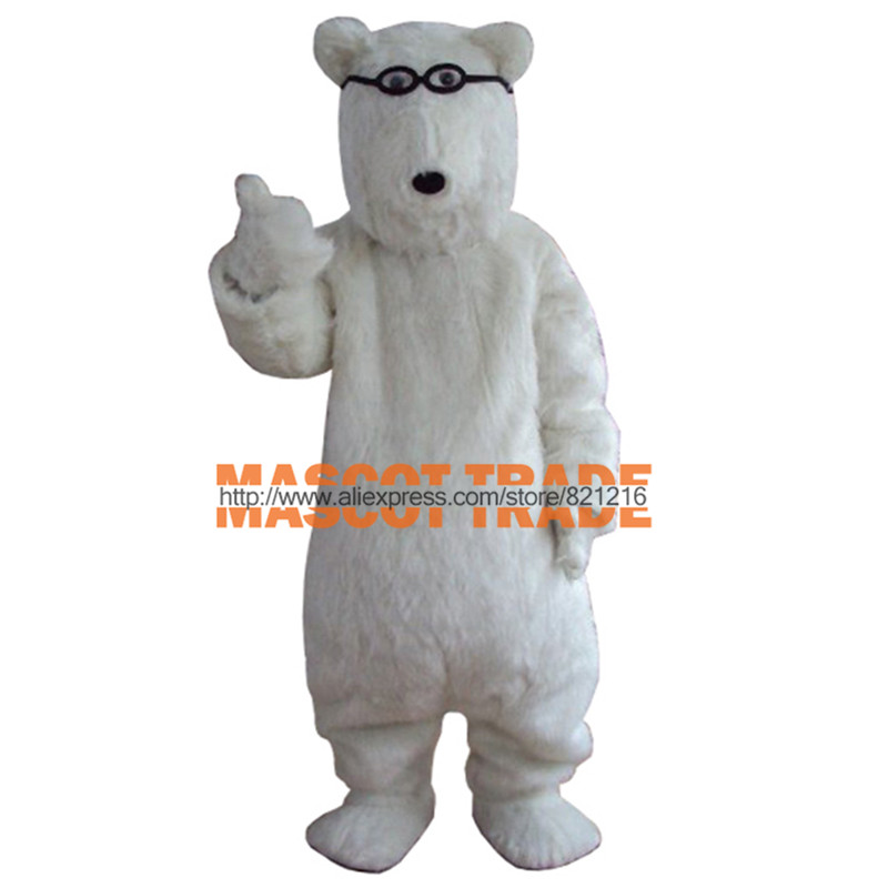 glasses white Polar bears Cartoon Character Costume cosplay mascot Custom Products custom-made(s.m.l.xl.xxl) free shipping
