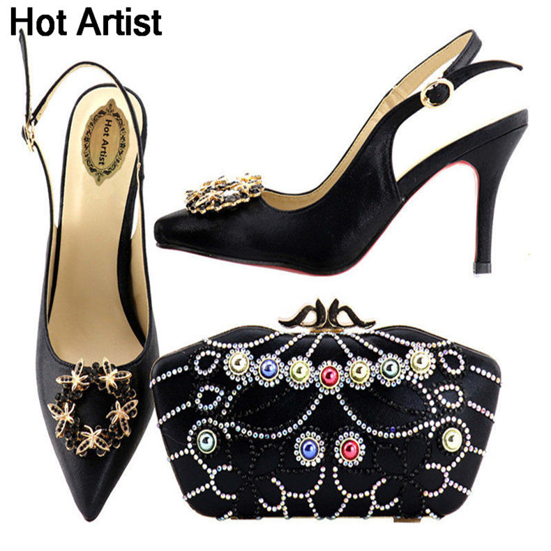 Hot Artist Nigerian Style Women Fashion Pretty Shoes And Bag Set African Spike Heels Shoes And Purse Set For Party Dress 2016 spring and summer free shipping red new fashion design shoes african women print rt 3
