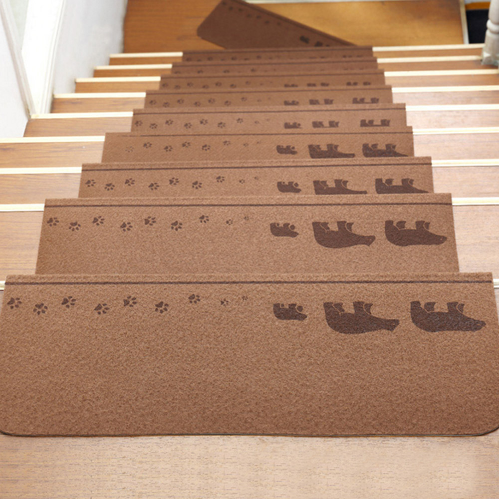 13 Pcs Self-adhesive Non-slip Floor Staircase Tread Mats Cute Animals Pattern Stair Treads Protector Carpets Dark Coffee Color13 Pcs Self-adhesive Non-slip Floor Staircase Tread Mats Cute Animals Pattern Stair Treads Protector Carpets Dark Coffee Color