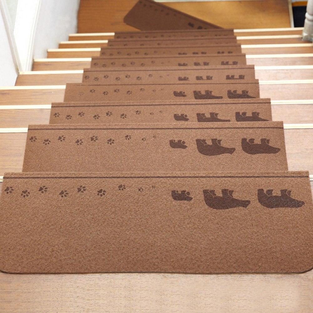 13 pièces auto-adhésif antidérapant plancher escalier bande de roulement tapis mignon animaux motif marches d'escalier protecteur tapis couleur café foncé