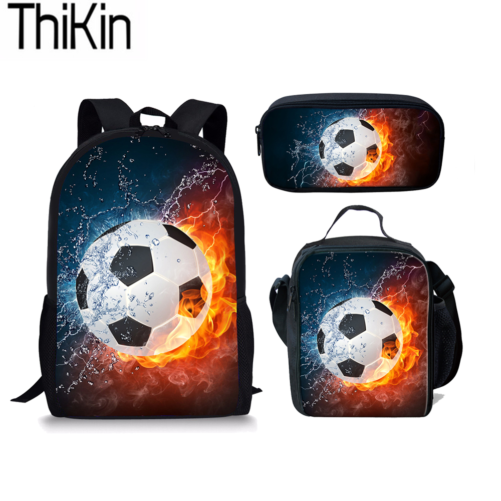 Forudesigns Fashion Children School Bags 3d Foot Ball Soccerly Pattern Orthopedic Backpack Schoolbag For Boys Teenagers Kids Lights & Lighting
