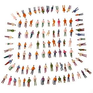 100pcs Model People OO Scale 1:75 Mix Painted Model People Landscape Plastic Train Park Street Passenger People Figures