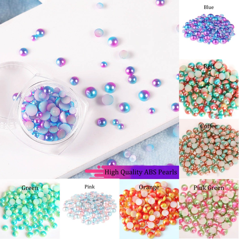 Imitation ABS Pearl Beads Flat Back 3 4 5 6 8 Mm Rainbow Color Cabochon Half Round Bead Scrapbook Decoration DIY Jewelry Making