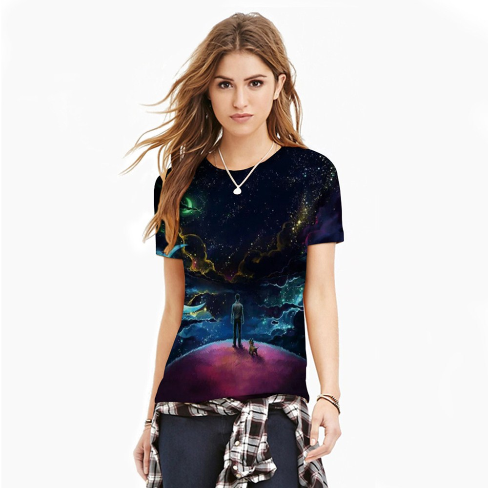 HTB1j3 vQXXXXXbOaXXXq6xXFXXXt - T-shirt blue sky digital print 3D short-sleeved women's shirt