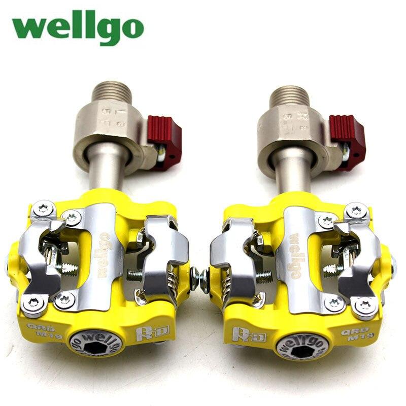 Pédales de QRD-WPD-M19 Wellgo VTT pédale de dégagement rapide vtt pédales auto-bloquantes en alliage d'aluminium 6061 CNC