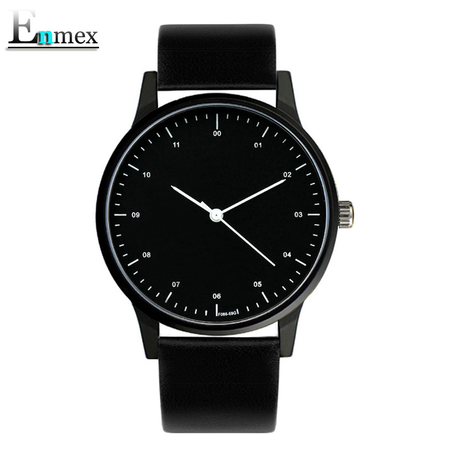 2017gift Enmex cool style wristwatch Brief vogue  simple stylish with Black and white face brief  casual  quartz  fashion watch 2017 gift enmex creative simple design brief face with a red pointer leather band water prof young and fashion quartz watch
