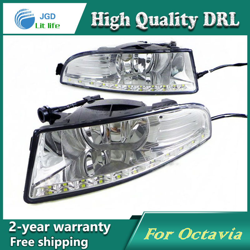 Free shipping !12V 6000k LED DRL Daytime running light case for Skoda Octavia 2010-2013 fog lamp frame Fog light Car styling