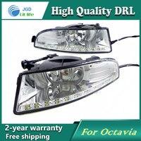 Free Shipping 12V 6000k LED DRL Daytime Running Light Case For Skoda Octavia 2010 2013 Fog