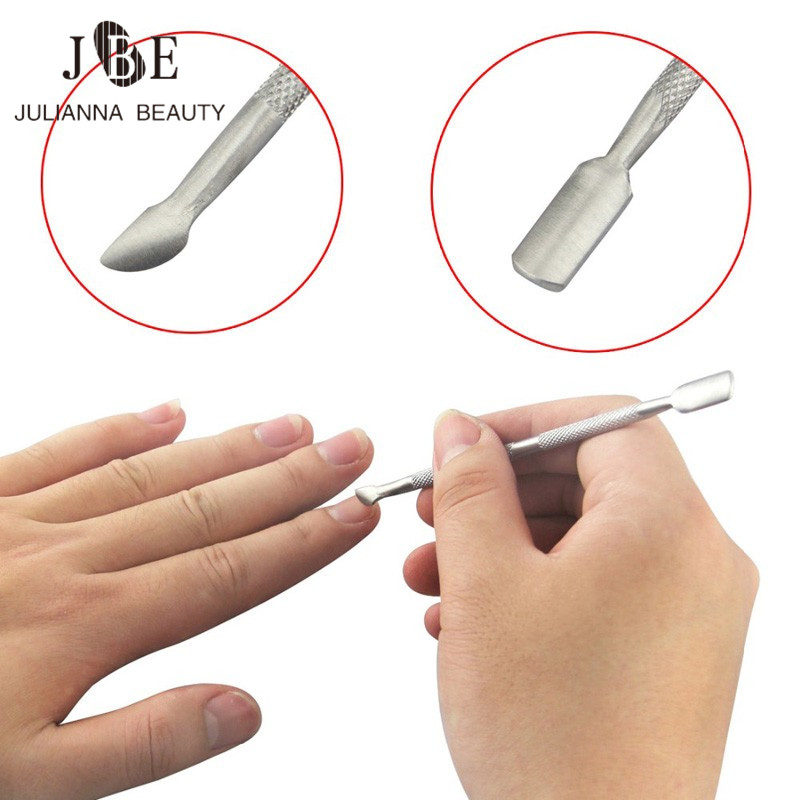 10 шт./лот двухсторонний отодвигатель кутикулы многофункциональный металлический палец для удаления мертвой кожи средство для снятия маникюра, педикюра инструмент