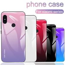 Gradient Phone case For Xiaomi pocophone f1 mi 8 A1 8se 6 6x A2 Fashion Case For Redmi note 6 pro 5 5A 4X 6A S2 Plus Glass coque