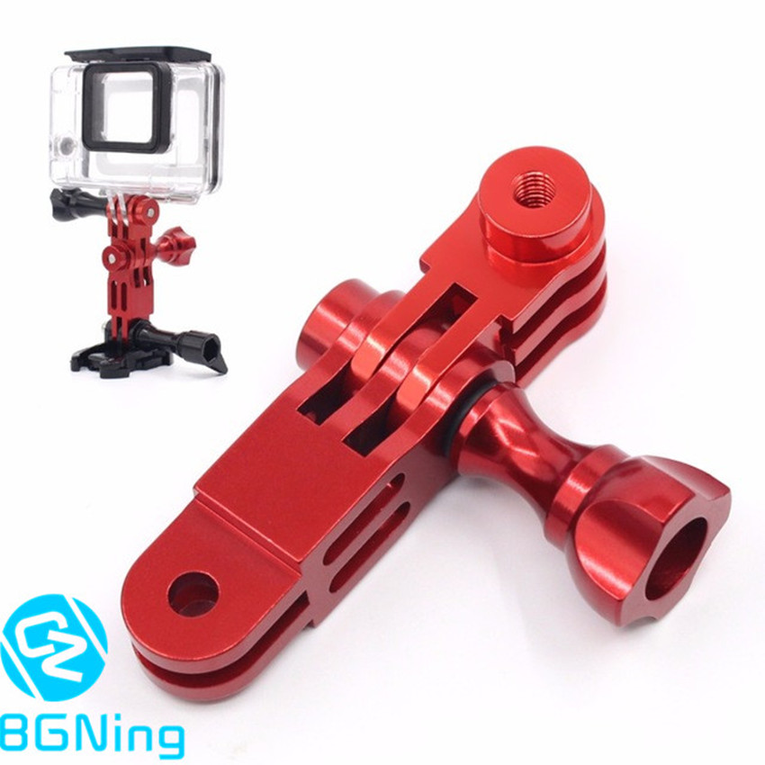CNC Aluminum Three-Way Pivot Arm Mount Adapter for GOPRO Hero 1 2 3 3+ 4 5 Session /Yi /SJcam /GitUp /AEE /Sony Action Cameras high precision cnc aluminum alloy lens strap ring for gopro hero 3 red