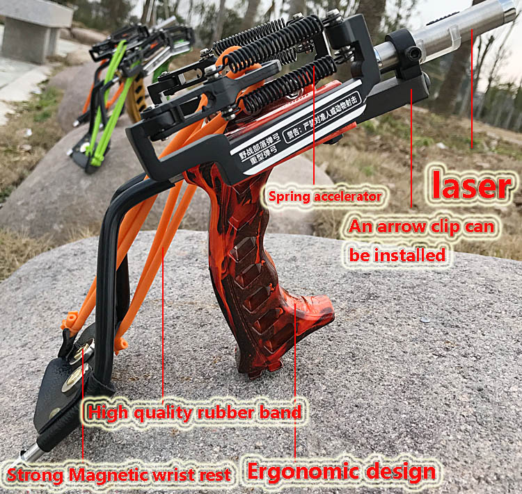 Laser Slingshot Strong Slingshot Catapult With Arrow Clip Hunting caza Powerful Catapult with wrist Target Archery