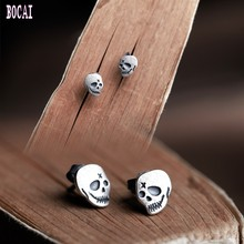 S925 pure silver New retro, fashion skull stud earrings personality punk men and women
