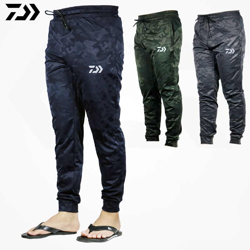 DAWA Men Outdoor Sports Pants Camouflage Fishing Pants Anti-static Anti-UV Quick Drying Windproof Breathable Pants