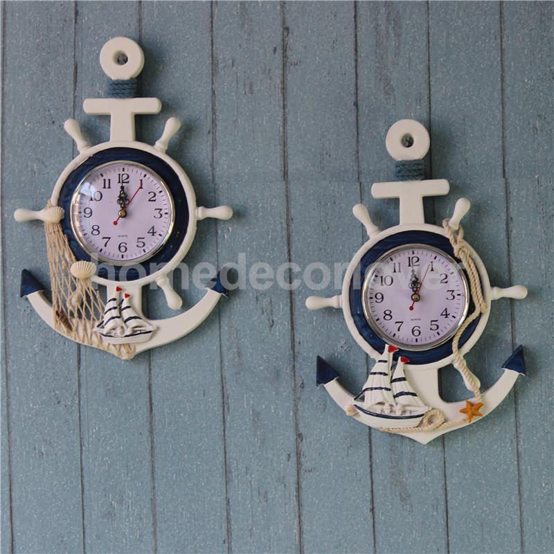 Anchor Clock Beach Sea Theme Nautical Ship Wheel Rudder Steering Wheel  Starfish Decor Wall Hanging Decoration In Wall Clocks From Home U0026 Garden On  ...