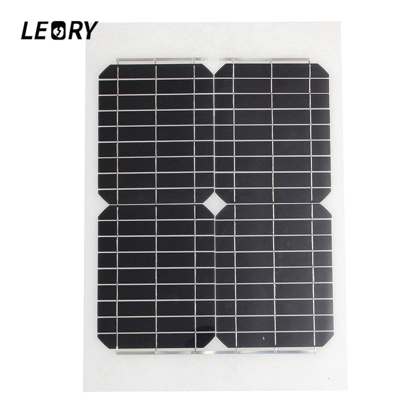 LEORY 20W 12V Monocrystalline Solar Panel Sun Power Semi-Flexible Solar Cells Module Charger For RV Car Boat Battery leory 12v 4 5w solar panel portable monocrystalline solar cells power charger diy module battery system for car automobile boat